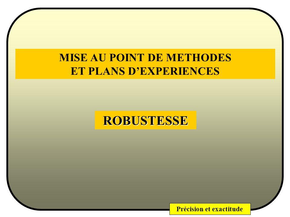 MISE AU POINT DE METHODES ET PLANS D'EXPERIENCES
