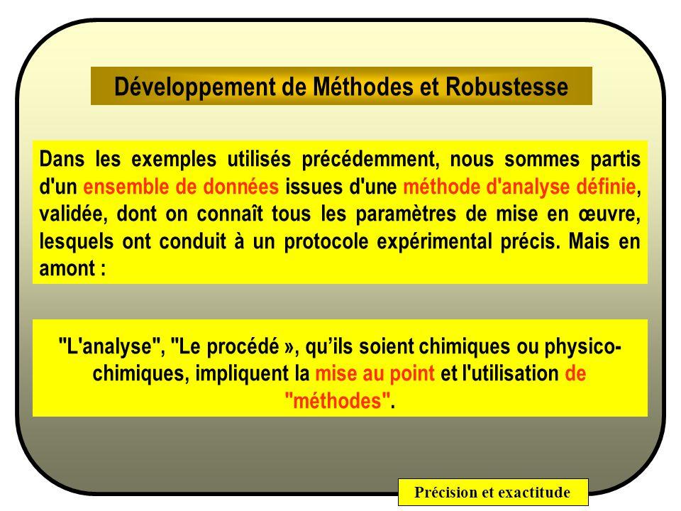Développement de Méthodes et Robustesse