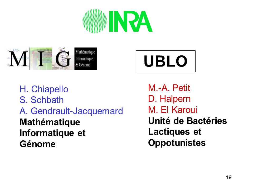 UBLO H. Chiapello. S. Schbath. A. Gendrault-Jacquemard. Mathématique. Informatique et. Génome.