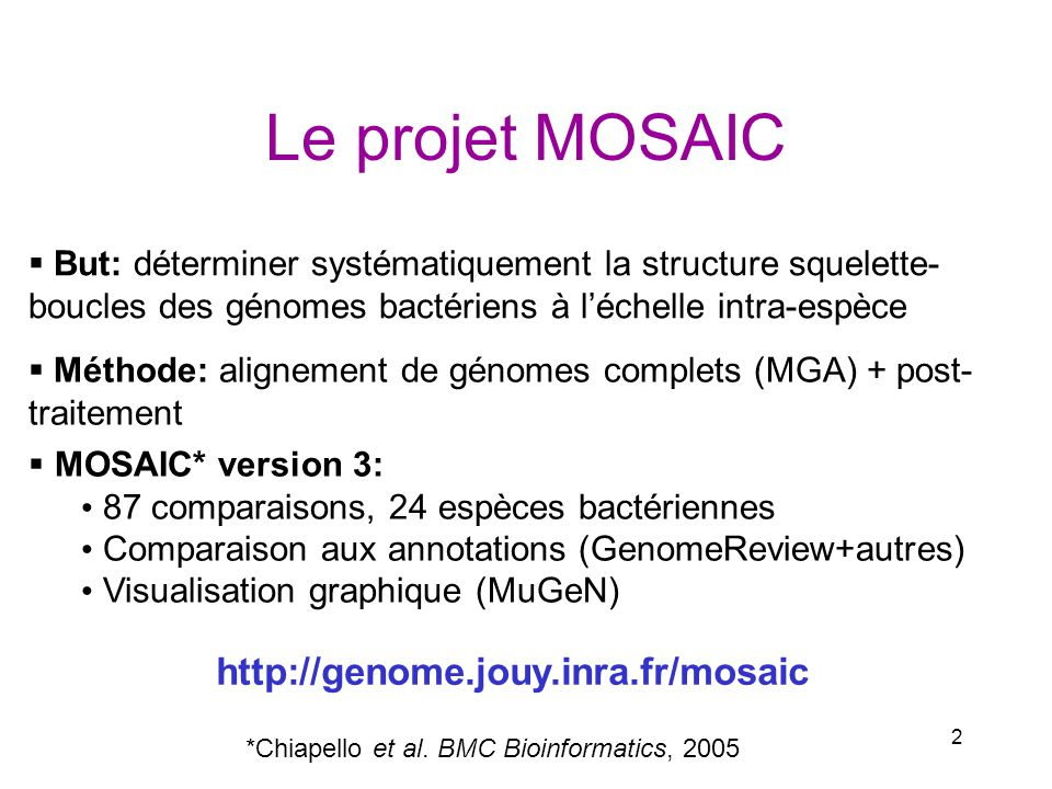 Le projet MOSAIC http://genome.jouy.inra.fr/mosaic