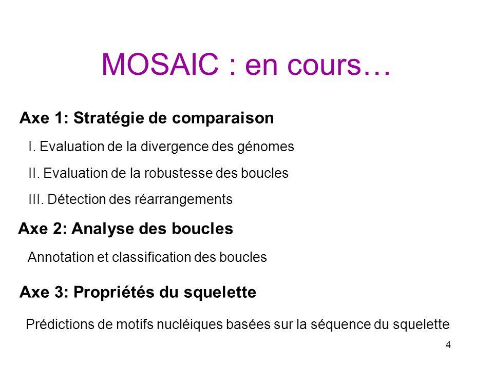 MOSAIC : en cours… Axe 1: Stratégie de comparaison