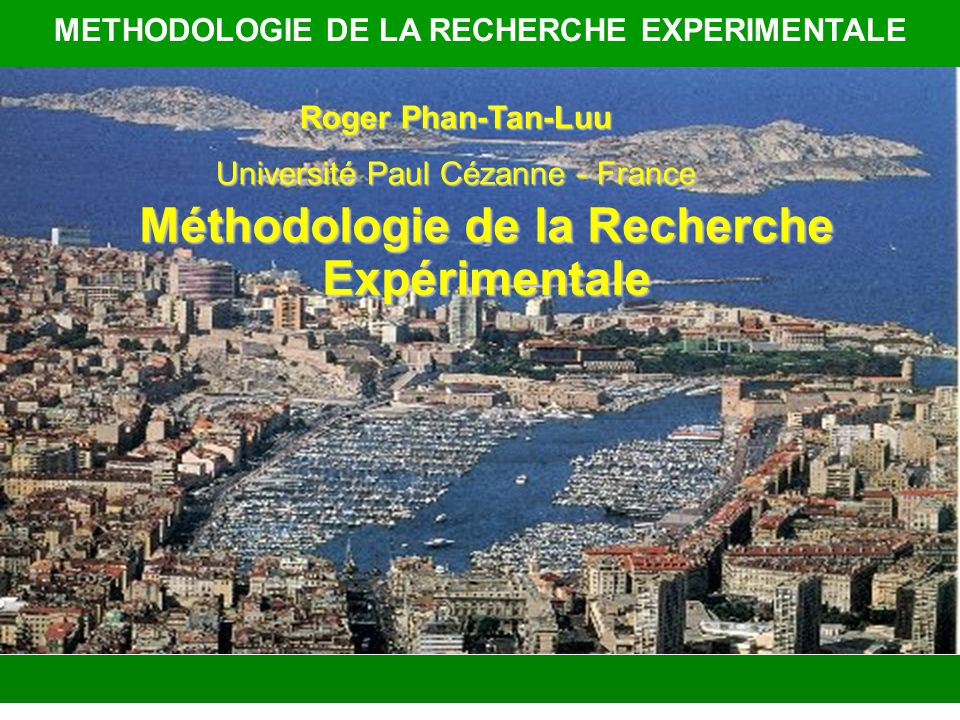 METHODOLOGIE DE LA RECHERCHE EXPERIMENTALE
