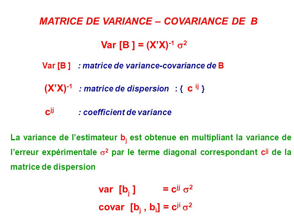 MATRICE DE VARIANCE – COVARIANCE DE B