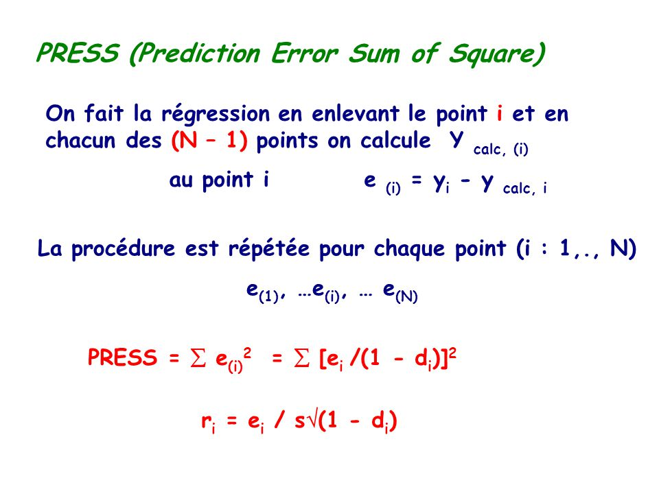 PRESS (Prediction Error Sum of Square)