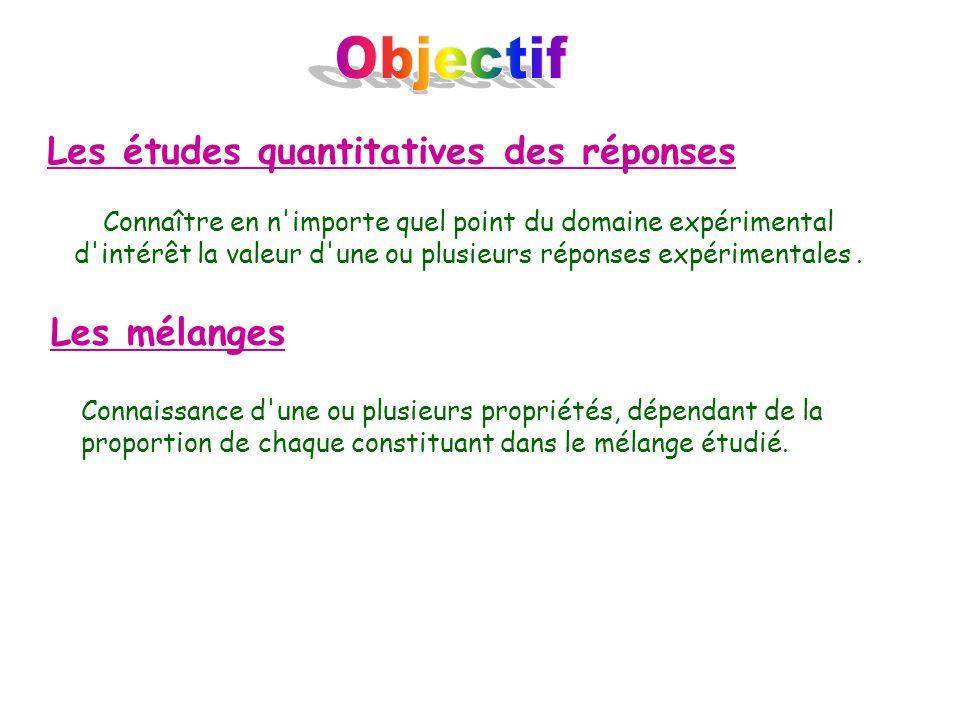 Objectif Les études quantitatives des réponses Les mélanges