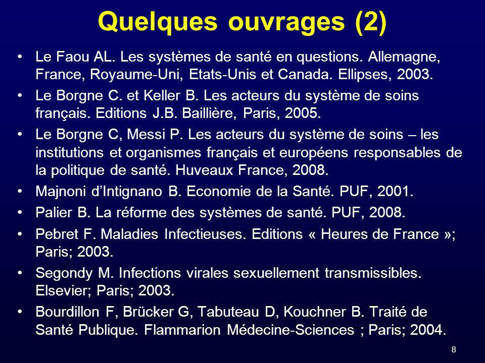 Quelques ouvrages (2) Le Faou AL. Les systèmes de santé en questions. Allemagne, France, Royaume-Uni, Etats-Unis et Canada. Ellipses, 2003.