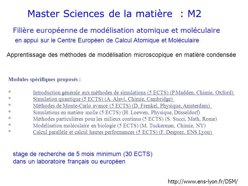 Master Sciences de la matière : M2