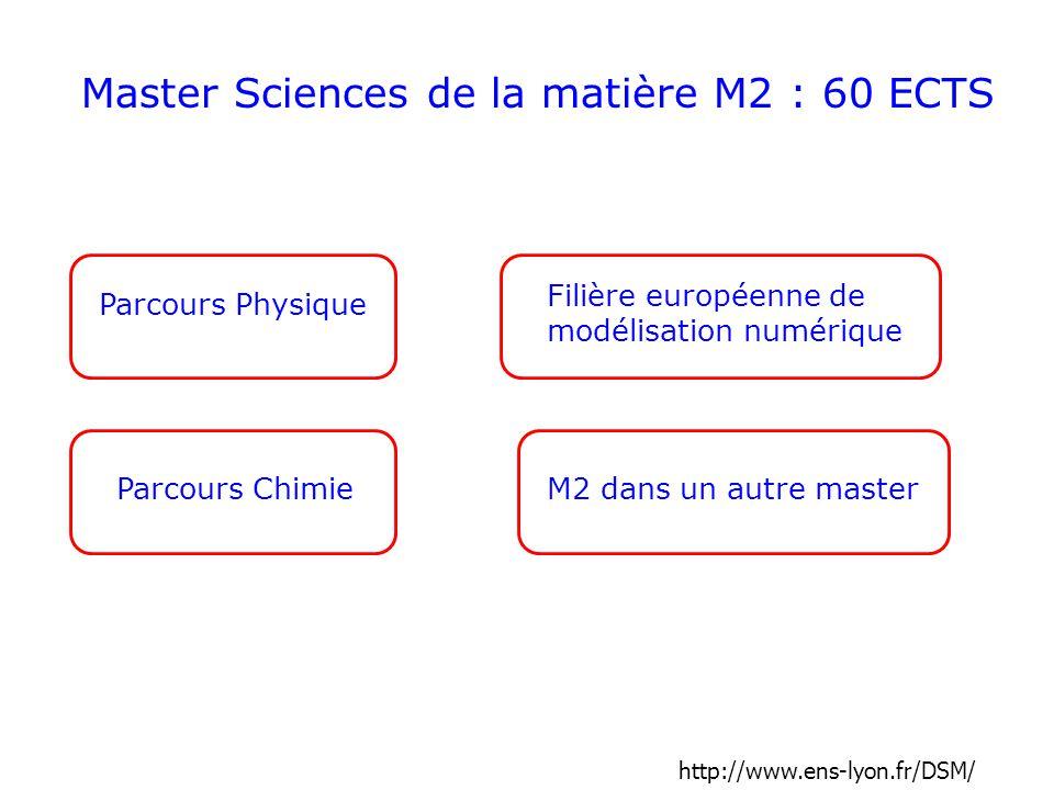 Master Sciences de la matière M2 : 60 ECTS
