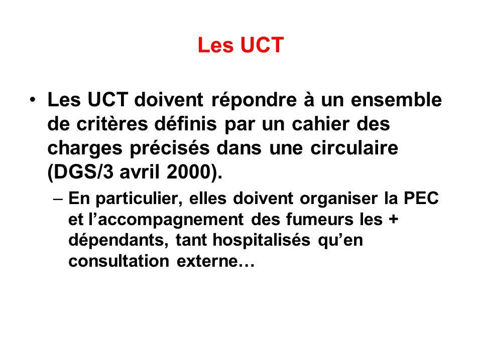 Les UCT Les UCT doivent répondre à un ensemble de critères définis par un cahier des charges précisés dans une circulaire (DGS/3 avril 2000).
