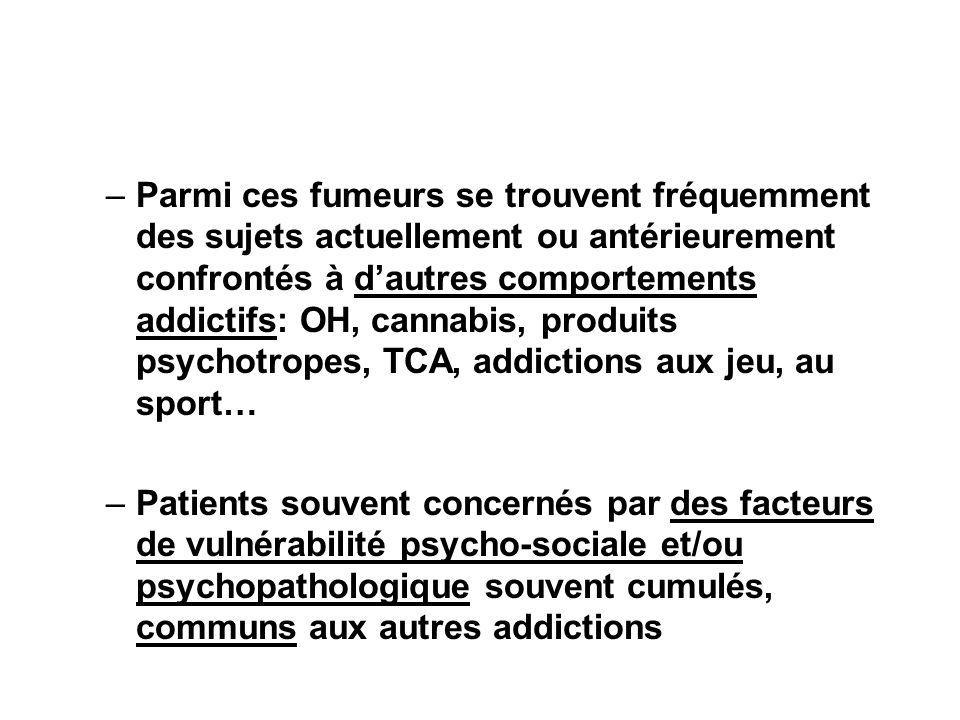 Parmi ces fumeurs se trouvent fréquemment des sujets actuellement ou antérieurement confrontés à d'autres comportements addictifs: OH, cannabis, produits psychotropes, TCA, addictions aux jeu, au sport…