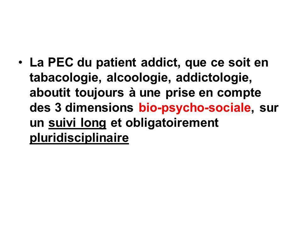 La PEC du patient addict, que ce soit en tabacologie, alcoologie, addictologie, aboutit toujours à une prise en compte des 3 dimensions bio-psycho-sociale, sur un suivi long et obligatoirement pluridisciplinaire