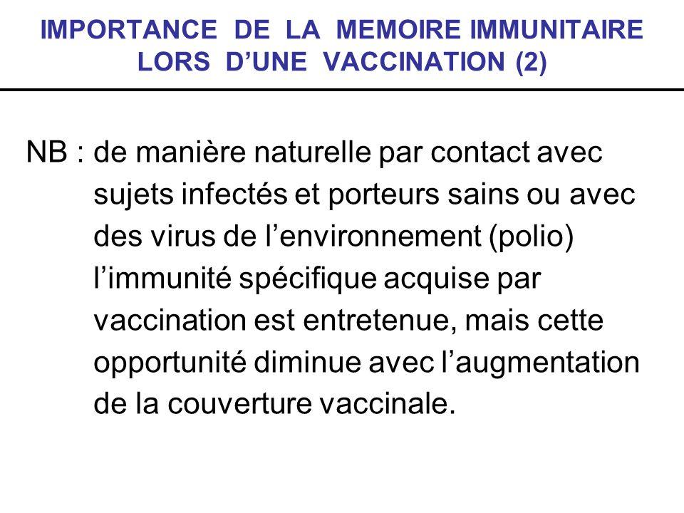 IMPORTANCE DE LA MEMOIRE IMMUNITAIRE LORS D'UNE VACCINATION (2)