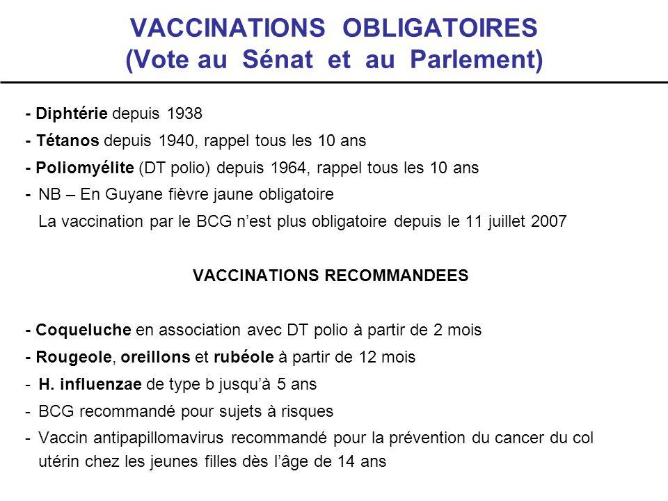 VACCINATIONS OBLIGATOIRES (Vote au Sénat et au Parlement)