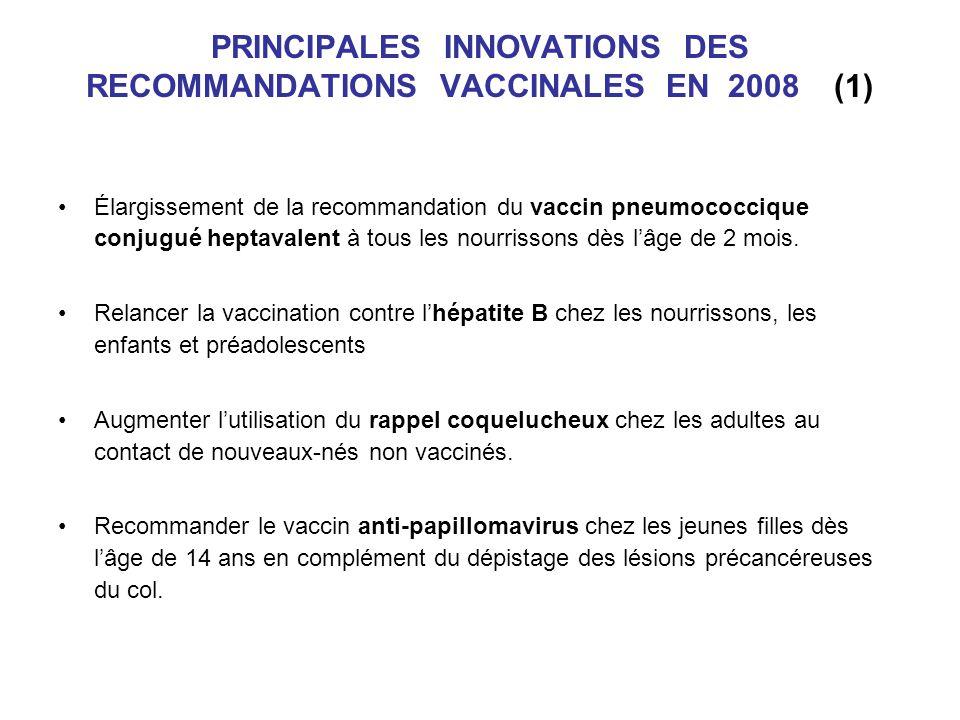 PRINCIPALES INNOVATIONS DES RECOMMANDATIONS VACCINALES EN 2008 (1)