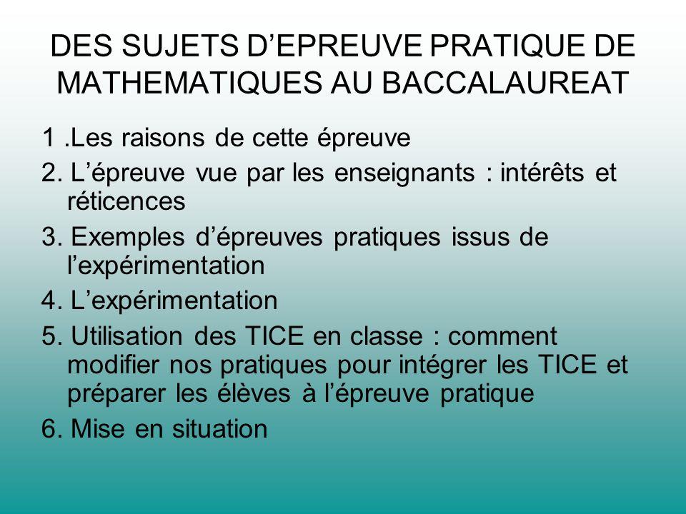 DES SUJETS D'EPREUVE PRATIQUE DE MATHEMATIQUES AU BACCALAUREAT
