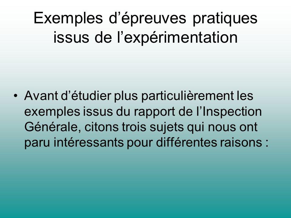 Exemples d'épreuves pratiques issus de l'expérimentation