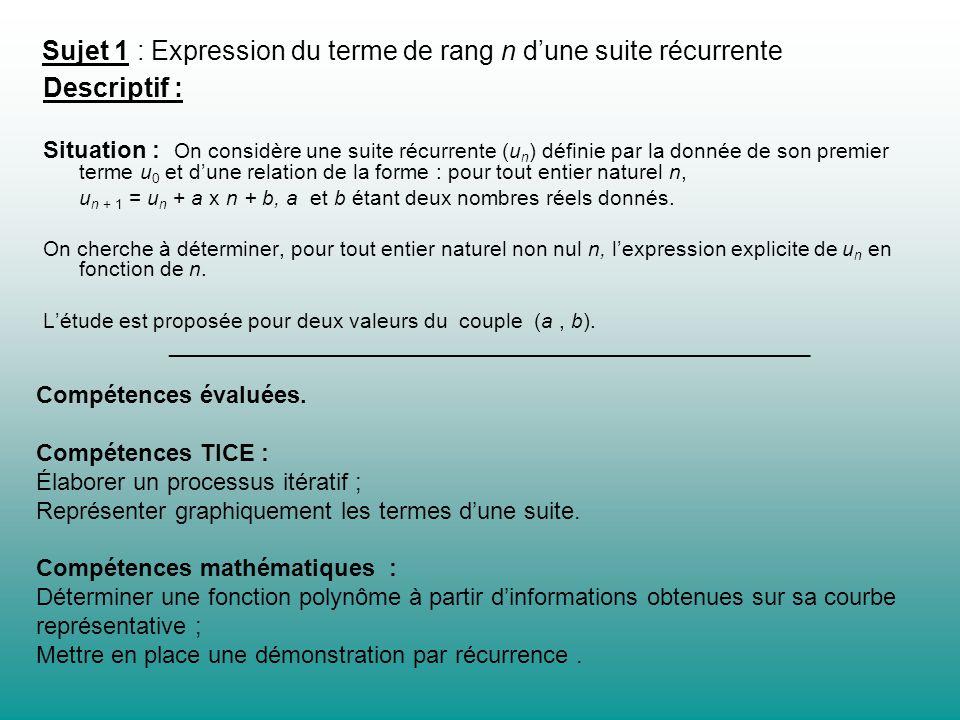 Sujet 1 : Expression du terme de rang n d'une suite récurrente
