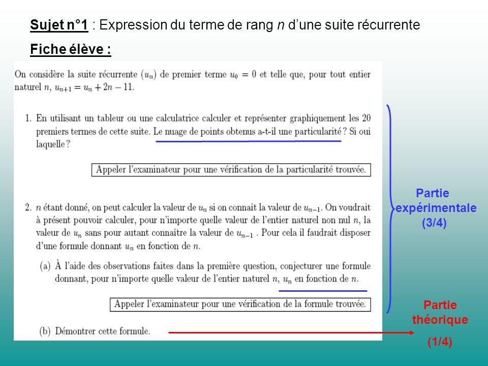 Sujet n°1 : Expression du terme de rang n d'une suite récurrente