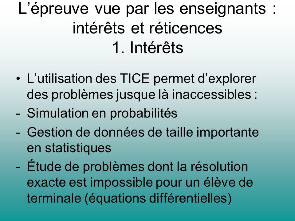 L'épreuve vue par les enseignants : intérêts et réticences 1. Intérêts
