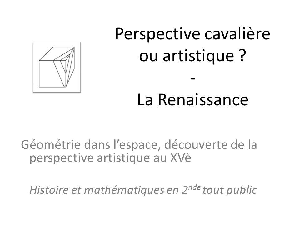 Perspective cavalière ou artistique - La Renaissance