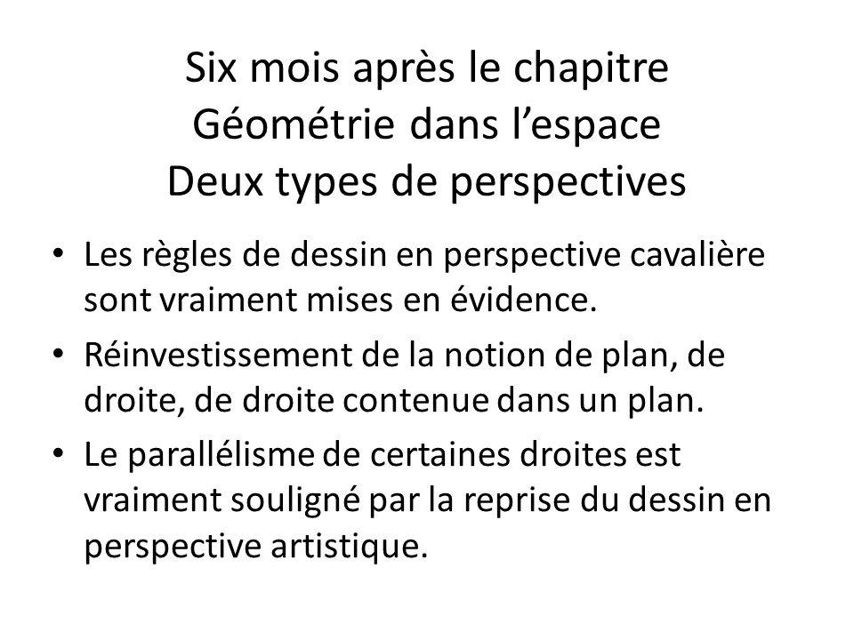 Six mois après le chapitre Géométrie dans l'espace Deux types de perspectives