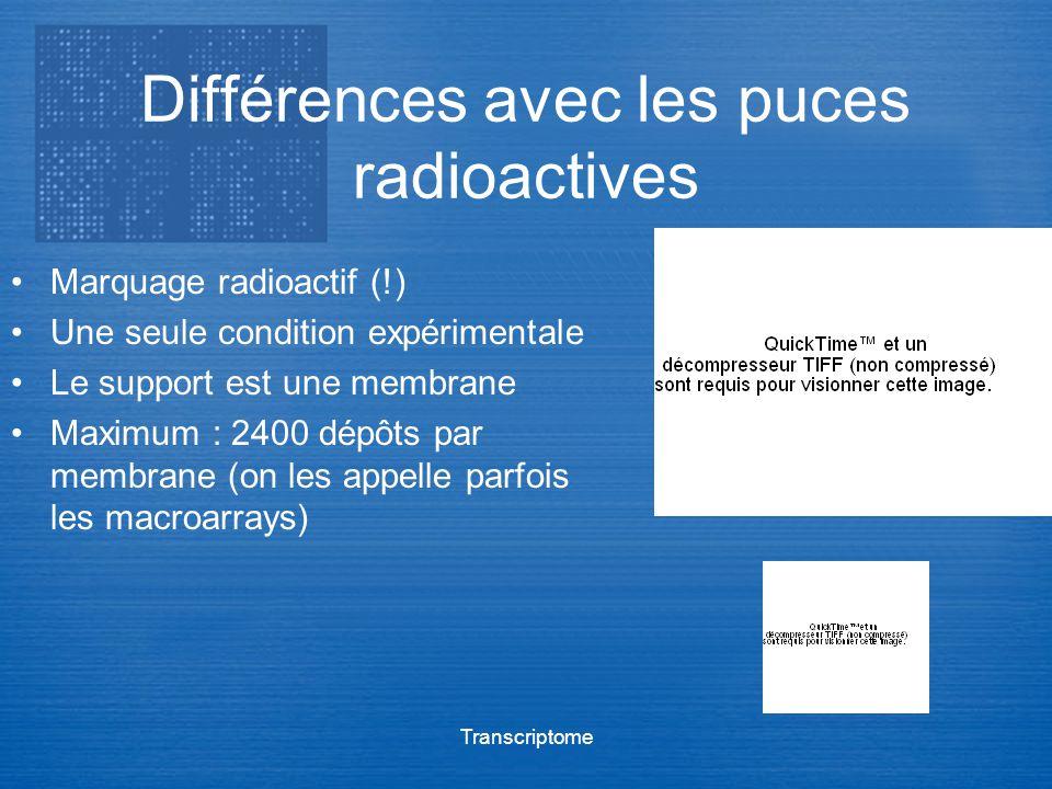 Différences avec les puces radioactives