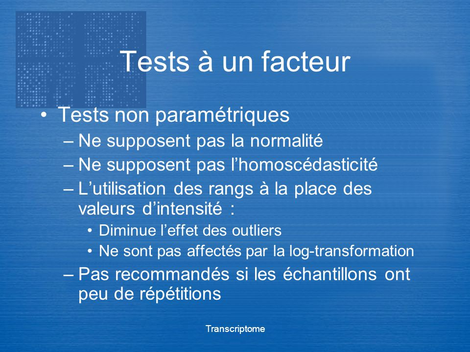 Tests à un facteur Tests non paramétriques