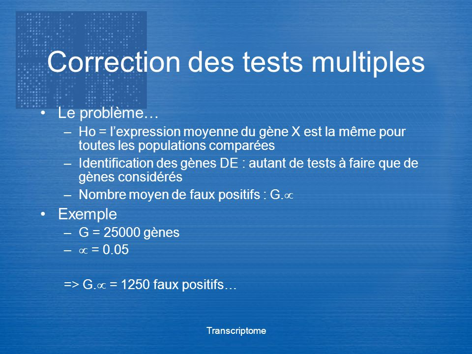Correction des tests multiples