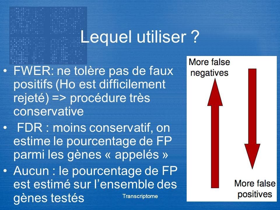 Lequel utiliser FWER: ne tolère pas de faux positifs (Ho est difficilement rejeté) => procédure très conservative.