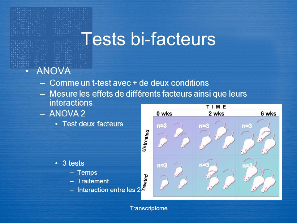 Tests bi-facteurs ANOVA Comme un t-test avec + de deux conditions