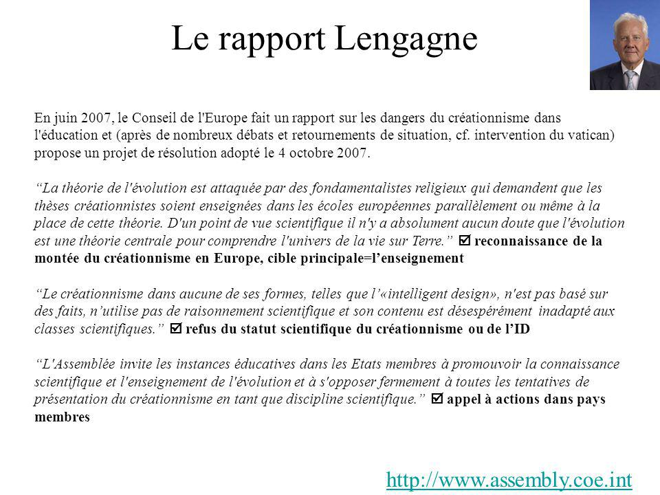 Le rapport Lengagne http://www.assembly.coe.int