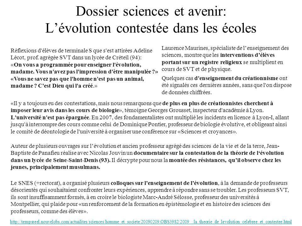 Dossier sciences et avenir: L'évolution contestée dans les écoles