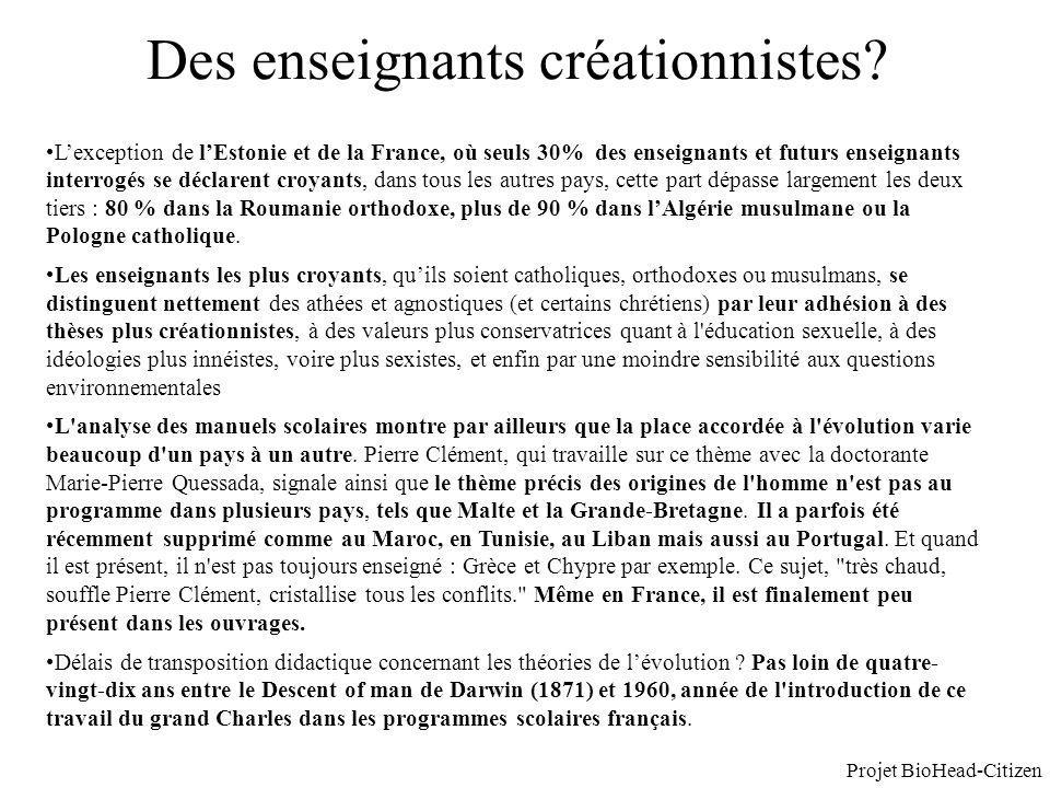 Des enseignants créationnistes