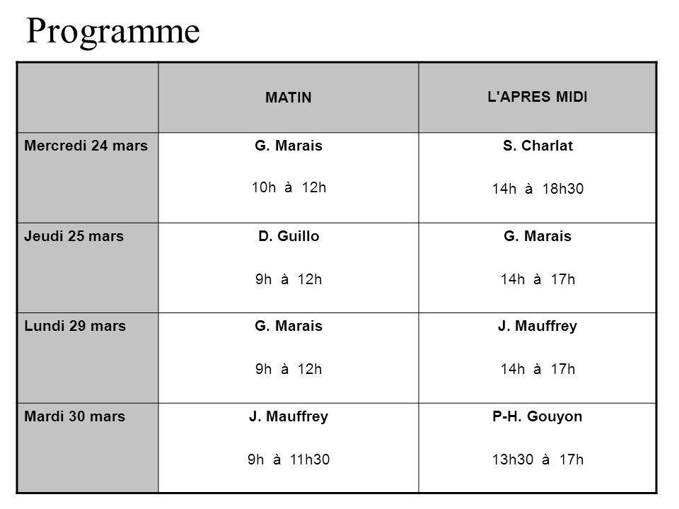 Programme MATIN L APRES MIDI Mercredi 24 mars G. Marais 10h à 12h