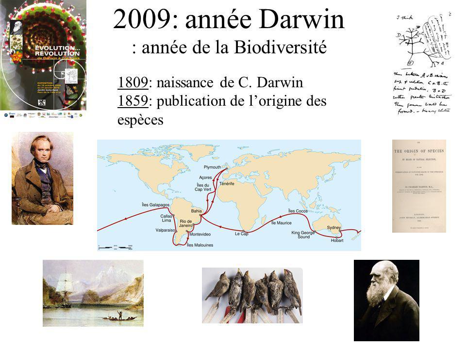 2009: année Darwin : année de la Biodiversité