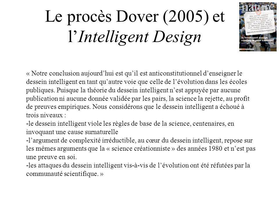 Le procès Dover (2005) et l'Intelligent Design