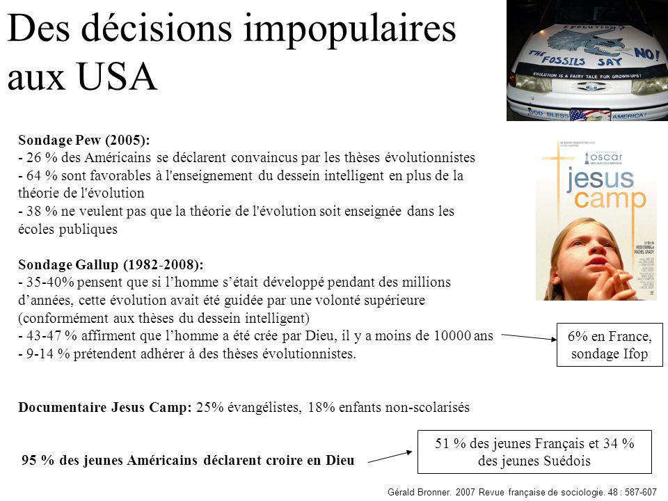 Des décisions impopulaires aux USA