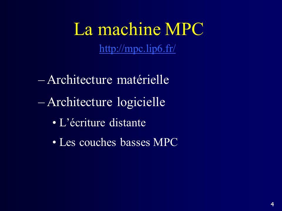 La machine MPC Architecture matérielle Architecture logicielle