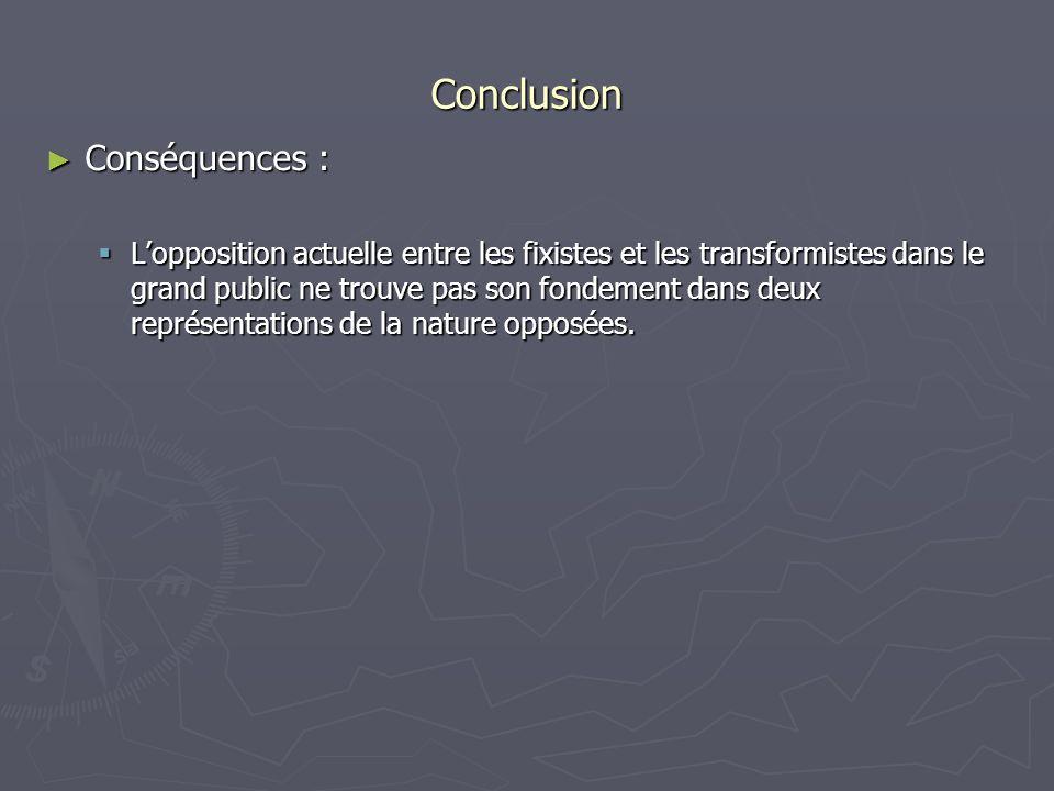 Conclusion Conséquences :