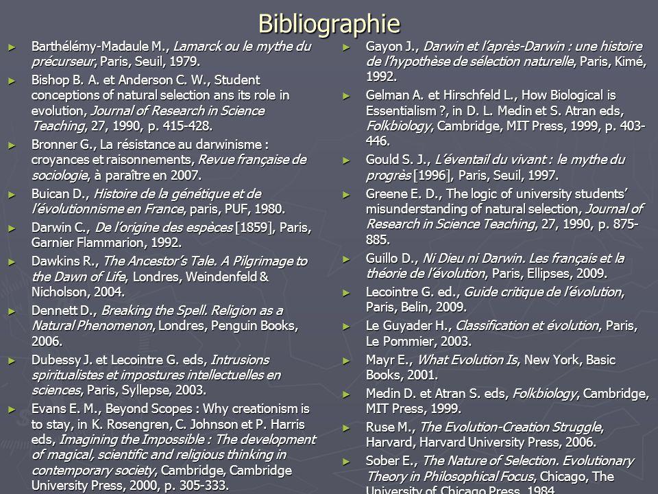 Bibliographie Barthélémy-Madaule M., Lamarck ou le mythe du précurseur, Paris, Seuil, 1979.