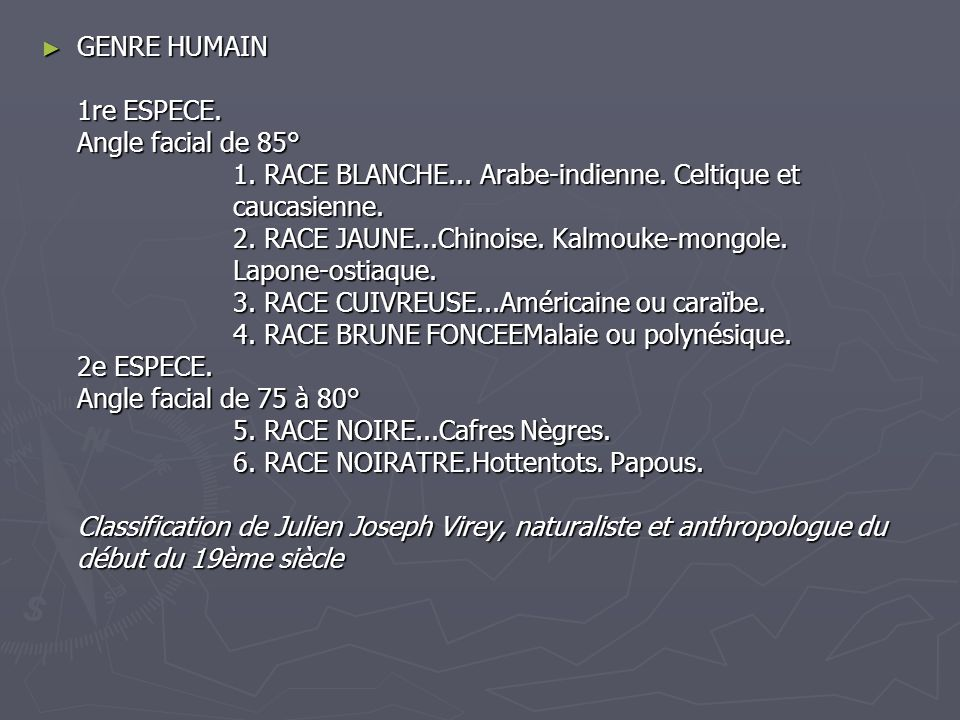 GENRE HUMAIN 1re ESPECE. Angle facial de 85°. 1. RACE BLANCHE