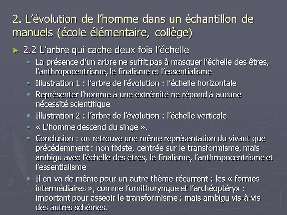 2. L'évolution de l'homme dans un échantillon de manuels (école élémentaire, collège)