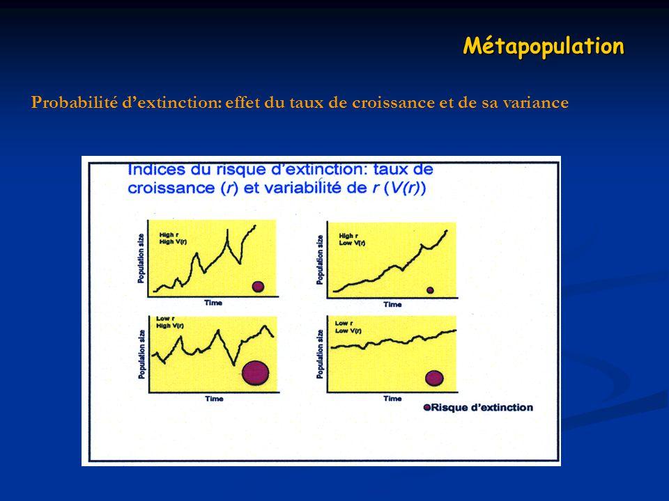 Métapopulation Probabilité d'extinction: effet du taux de croissance et de sa variance