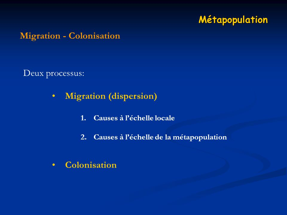 Migration - Colonisation