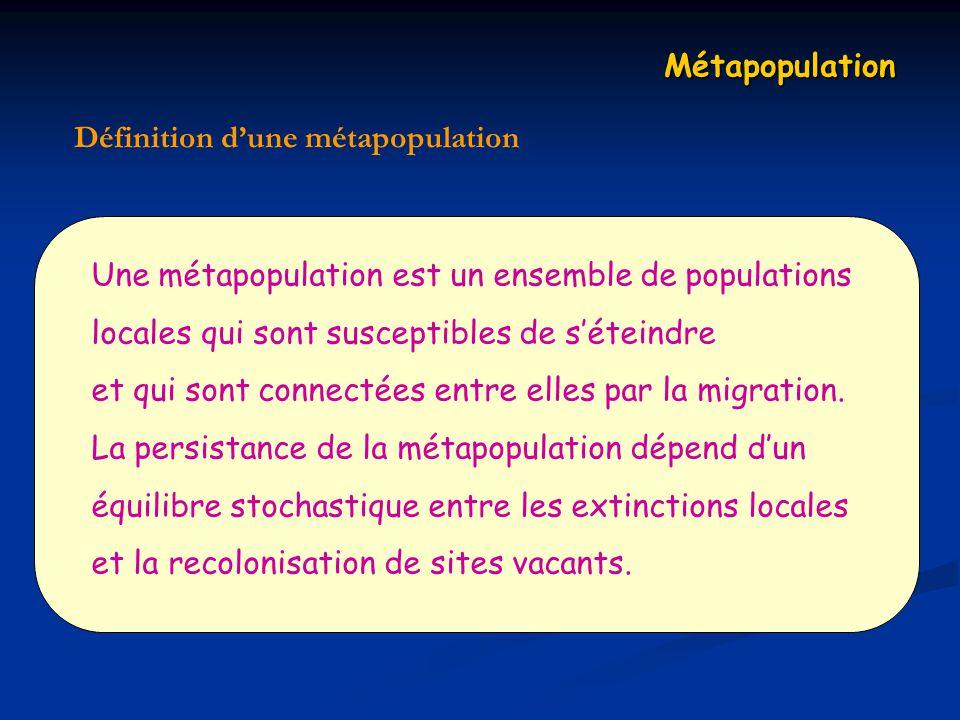 Métapopulation Définition d'une métapopulation. Une métapopulation est un ensemble de populations.