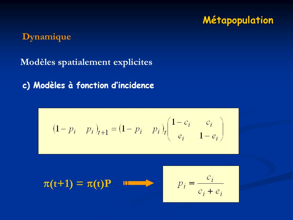 (t+1) = (t)P Métapopulation Dynamique