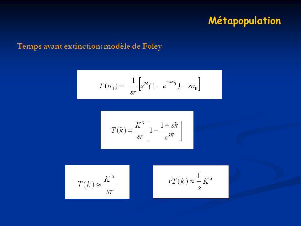 Temps avant extinction: modèle de Foley