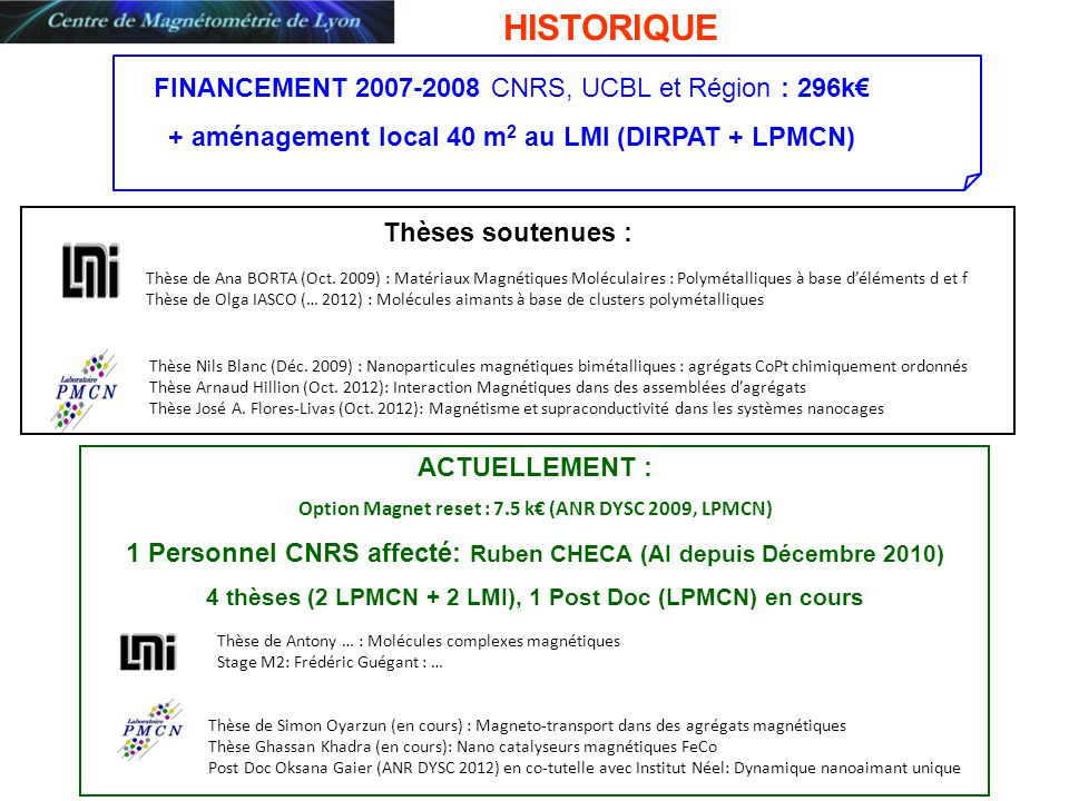 + aménagement local 40 m2 au LMI (DIRPAT + LPMCN)