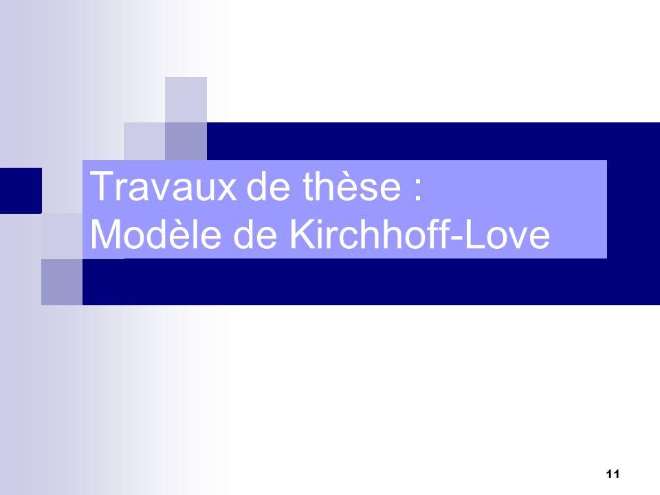Travaux de thèse : Modèle de Kirchhoff-Love