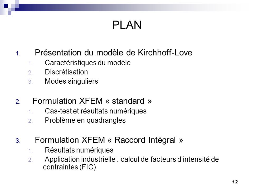 PLAN Présentation du modèle de Kirchhoff-Love